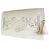 White Fashion Embroidered luxury pouch