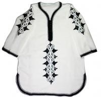 White Tunic with black Rbati Embroidery