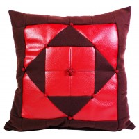 "Red Patchwork Cushion W 14"" X H 14"""