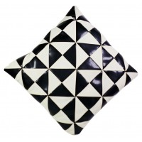 "Black and White Patchwork Cushion W 14"" X H 14"""